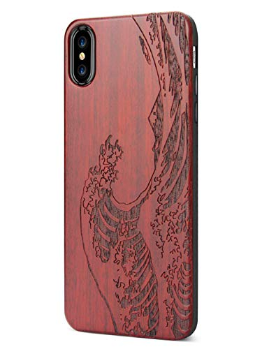Compatible for iPhone Xs Max Case Wood, Engraved Wooden Wave Pattern Soft Silicone Frame Shock Absorption Drop Proof Bumper Protective Case for iPhone Xs Max (2018) (Wooden Wave)