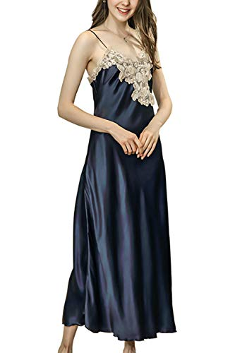- asher BABY Women's Nightdress Lace Satin Nightgowns Long Chemise Sleepwear Navy US 0-2=Tag M