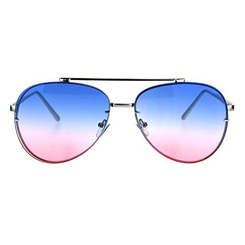 Oceanic Gradient Lens Rimless Luxury Designer Fashion Aviator Sunglasses Silver Blue - Blue Gradient