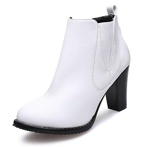 Women's White Toe Heels Boots Round PU Solid High AgooLar On Pull vdxqHv