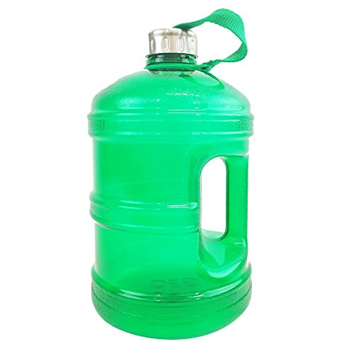 1/2 Gallon BPA FREE Reusable Plastic Drinking Water Bottle w/ Stainless Steel Cap - 64 oz. - Green (48 Mm Plastic Cap)