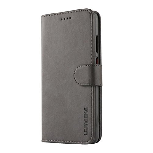 Price comparison product image MChoice for Huawei P20 Pro Magnetic Flip Card Wallet Leather Case Cover (Gray)