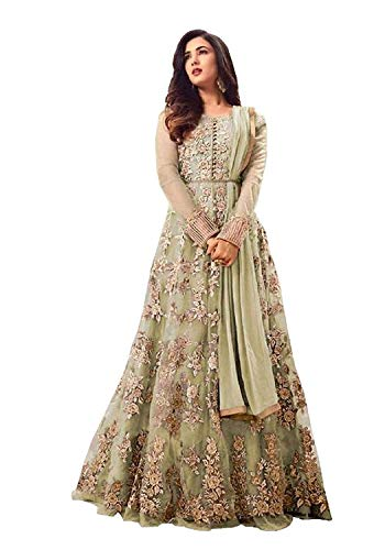 (Designer Sonal Leaf Work Embroidered Semi Stiched Women's Sea Green Indian Dress Ethnic Party Anarkali Gown Salwar Suit)