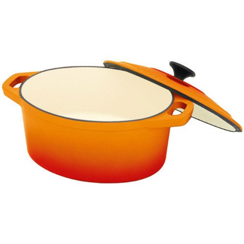 Chasseur Cast Iron 6-quart Oval French Casserole Pot with Lid, Orange Flame Chasseur Casserole