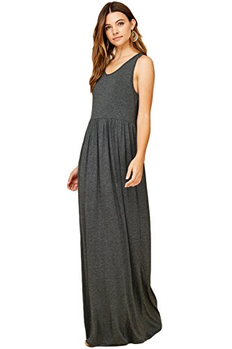 Women's Maxi Racerback Sleeveless Dresses Tank Top Casual Long Annabelle Charcoal 7HUSwxvx