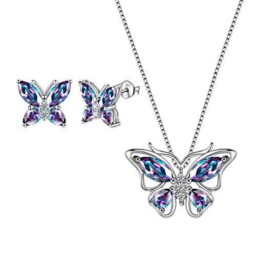 Aurora Tears Mystic Topaz Butterfly Jewelry Sets 925 Sterling Silver Mystic Rainbow Butterflies Necklace/Earrings Sets Wedding/Anniversary Jewelry DS0035M