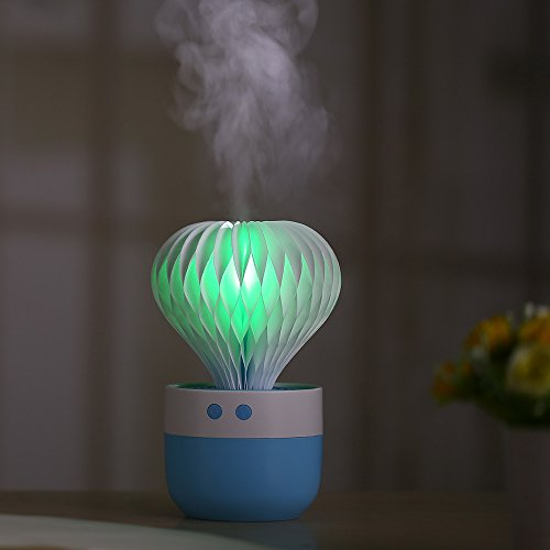 TACY Humidifier 7 Color Night Light Ball Cactus Humidifiers USB Humidifier for Car Home Sleep, Bedroom, Office Desktop, (Blue) by TACY