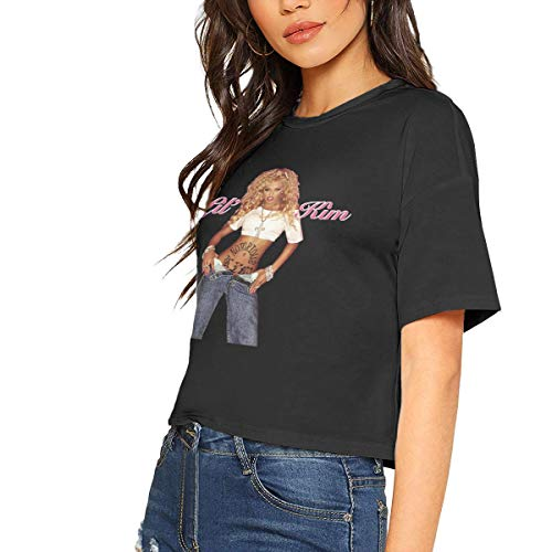 JonathanBehrens Cool Casual Woman Lil Kim Cotton Short Sleeves Lumbar Midriff T Shirts S Gift Black