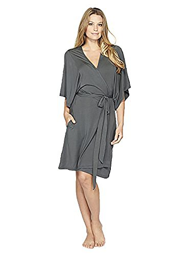 Barefoot Dreams Luxe Milk Jersey Short Robe - Graphite, Medium by Barefoot Dreams