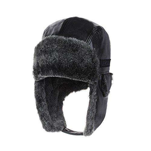 WITHMOONS Leather Bike Trapper Ear Flap Cap Trooper Hat Faux Fur CR7151 (Black) (Bomber Flap Bag)