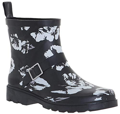 - Capelli New York Ladies Shiny Soft Florals Printed Short Rain Boots with Ankle Buckle Strap Black Combo 6