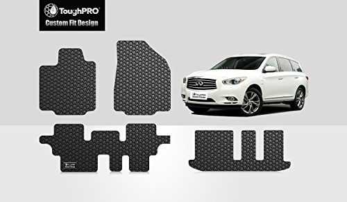 ToughPRO Floor Mats 1st + 2nd + 3rd Row Compatible with Infiniti QX60 - All Weather - Heavy Duty - (Made in USA) - Black Rubber - 2014, 2015, 2016, 2017, 2018, 2019 (Best Selling 3 Row Suv)