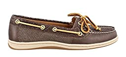 Sperry Top-Sider Women\'s Firefish Emboss Boat Shoe,Khaki Leather/Textile,US 8.5