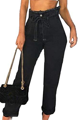 Suvotimo Vaqueros De Cintura Alta para Mujer Pantalones Vaqueros Casuales Negro