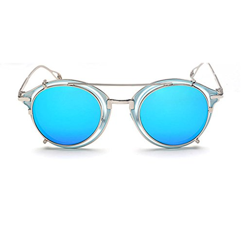 Akite Mirror lens Round Glasses Cyber Goggles Steampunk Clip On Sunglasses For Men And Women (Azure Mirror)
