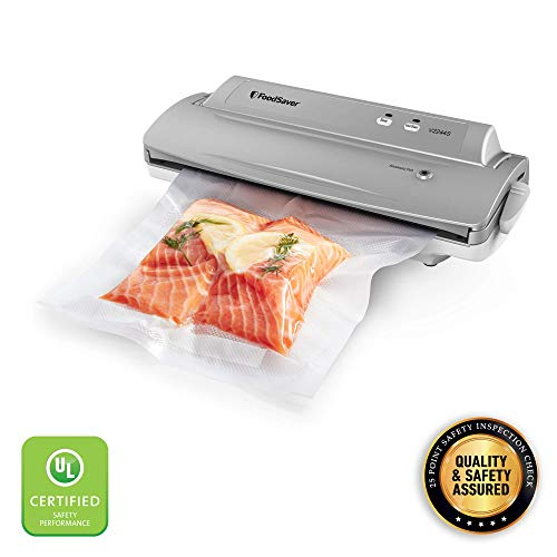 FoodSaver V2244 Vacuum Sealer Machine for Food Preservation with Bags and Rolls Starter Kit | #1 Vacuum Sealer System | Compact & Easy Clean | UL Safety Certified | Silver (Renewed)