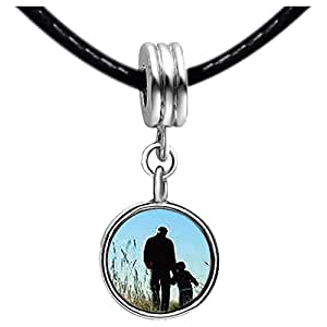 Chicforest Silver Plated Father's Day theme boy and father Photo Topaz Crystal November Birthstone Flower dangle Charm Beads Fits Pandora Charm