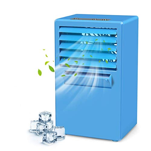 LUCKSTAR Desktop Air Conditioning Fan - Quiet Personal Mini Fan Air Cooler for Refrigeration & Humidification & Fresh Air (Blue.)