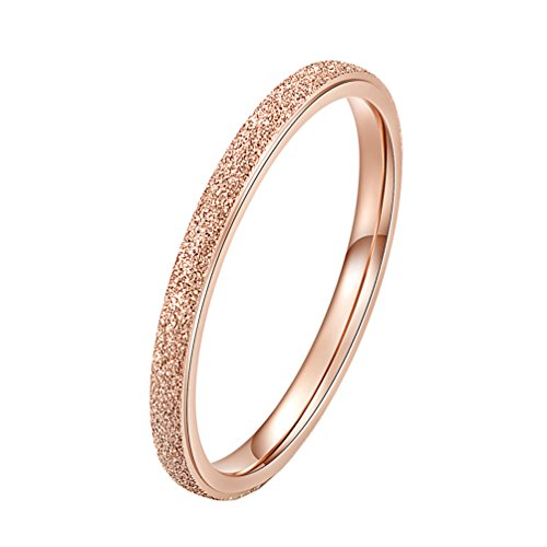 PAURO Women's Stainless Steel Rose Gold Sandblast Finish 2MM Stackable Wedding Band Ring Size ()
