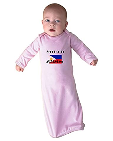 Proud To Be Filipino Philippines Flag Infant Baby Rib Layette Sleeping Gown & Hat Set Soft Pink (Infant Filipino)