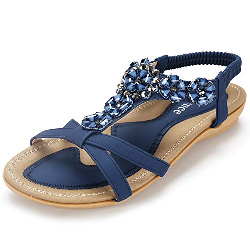 Harence Women's Casual Summer Shoes Ankle T-Strap Thong Flat Sandals (5, Blue3)