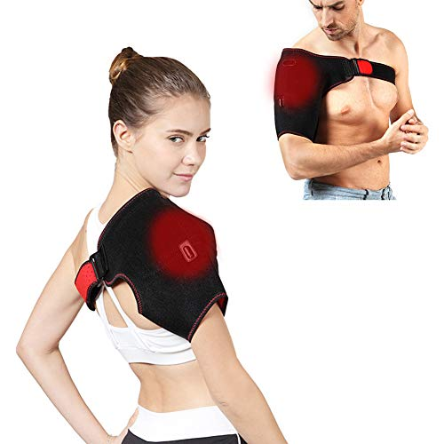 Heated Shoulder Wrap Brace Two Heating Modes Adjustable Shoulder Heating Pad with Hot and Cold Therapy for Frozen Shoulder Bursitis Tendinitis Paralysis Strain Stiff Soreness Fits Men and Women