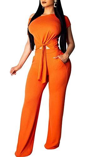 Womens Sexy Elegant Jumpsuit Shirt Pants Club 2 Pieces Outfit Set - 2 Outfits Cotton Piece