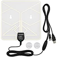 Leadsign Window Antenna(Clear Transparent) - 50 Miles Amplified HDTV Antenna Indoor with USB Power Supply and 16.5 Feet Coax Cable