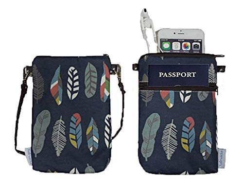 Cross Body Phone Bag for Women Ladies, Tainada Universal Crossbody Travel Dual Zippered Wallet Purse Pouch with Detachable Strap for iPhone Xs Max, X, Samsung S9+, Note 9 (Feather Pattern Navy Blue)