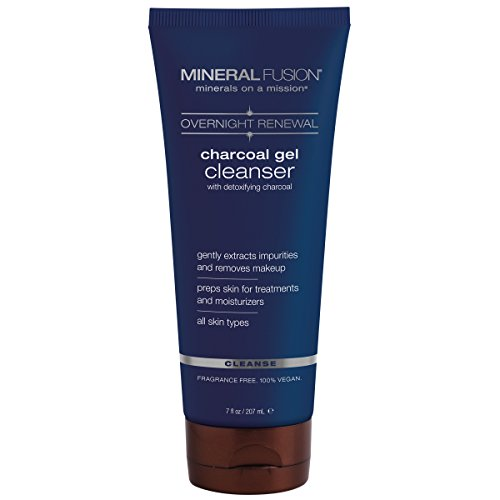 Mineral Face Wash - Mineral Fusion Overnight Renewal Charcoal Gel Cleanser, 7 Ounce