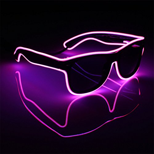 (Bluelans Light up El Wire Neon Rave Glasses Glow Flashing LED Sunglasses Costumes For Party, EDM, Halloween,Christmas Party, Costume Party)