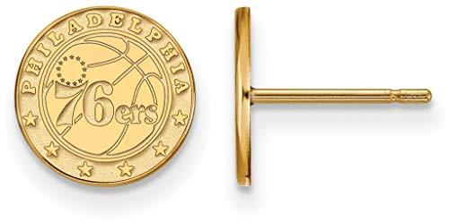 Gold-Plated Sterling Silver NBA Philadelphia 76ers X-Small Post LogoArt Earrings ()