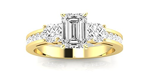 14K Yellow Gold 1.1 CTW Channel Set 3 Three Stone Diamond Engagement Ring w/ 0.5 Ct GIA Certified Emerald Cut H Color IF Clarity - Round Stone Ring 40 3