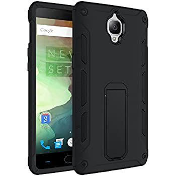 OnePlus 3T Case Hybrid Dual Layer Rugged Shockproof Drop Proof Hard Back Cover Kickstand Protective Case for OnePlus 3/OnePlus 3T (Black)