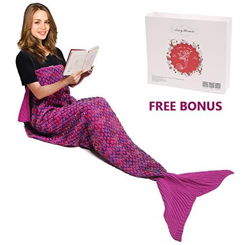 AmyHomie Mermaid Tail Blanket, Mermaid Blanket Adult Mermaid Tail Blanket, Crotchet Kids Mermaid Tail Blanket for Girls