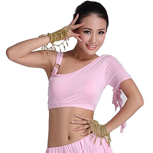 Danza del vientre Disfraz Set Tribal One Shoulder Top+Exotic Banded Falda Pink