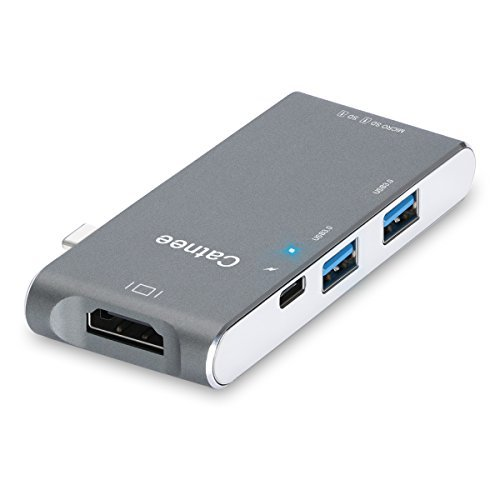 Catnee USB Type c/HDMI hub Multi-port adapter with C-type charging port HDMI 4K output TF SD card reader 2 USB 3.0 ports for the new Macbook 6 in 1 (Space Gray) by Catnee