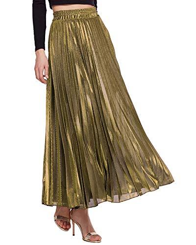 KENANCY Women's Metallic Shiny Accordion Pleated Long Maxi Party Skirt (Golden, XX-Large)