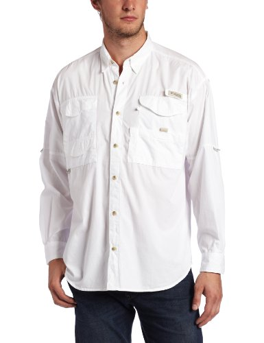 Columbia Men's Bonehead Long Sleeve Fishing Shirt (White, XX-Large)