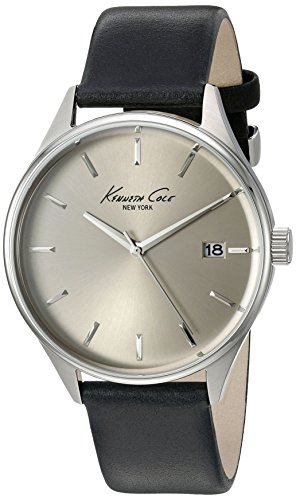 Kenneth Cole New York Men's 10029304 'Classic' Quartz Stainless Steel and Black Leather Dress Watch