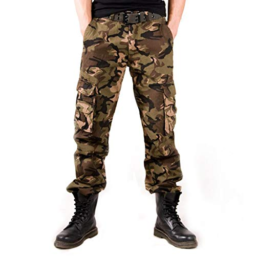 (Zeetoo Mens Relaxed-Fit Cargo Pants Multi Pocket Military Camo Combat Work Pants GZ04 Yellow Camo)