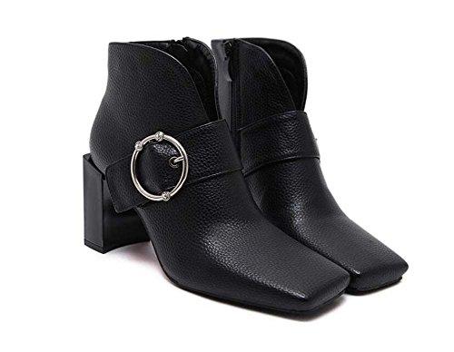 8.5cm Chunkly Heel Square Toe Ankle Bootie Zapatos De Moda Zipper Moda Cinturón Hebilla Corte Zapatos 2017 Otoño E Invierno Nuevo Eu Tamaño 32-43 Black