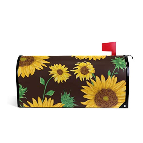 TSWINW Oversized Magnetic Mailbox Cover Sunflowers and Green Leaves Standard Size Mail Wrap for Outside Garden Home Decor Mailbox Cover Letter Post Box - Cover Magnetic Leaves Mailbox