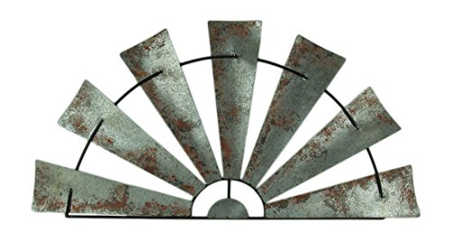 Zeckos Metal Wall Sculptures Large Distressed Metal Half Moon Windmill Wall Sculpture 47.5 X 24 X 0.25 Inches Silver For Sale