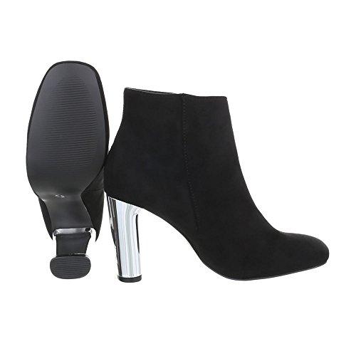 Ital-Design Zapatos Para Mujer Botas Mini Tacón Botines de Tacón Negro