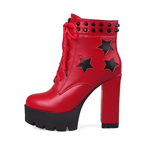 AllhqFashion Womens Lace Up Round Closed Toe High Heels Pu Low Top Boots Red tLB6Qe