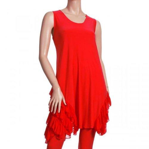 Rüschentrend Long Tunika Kleid rot