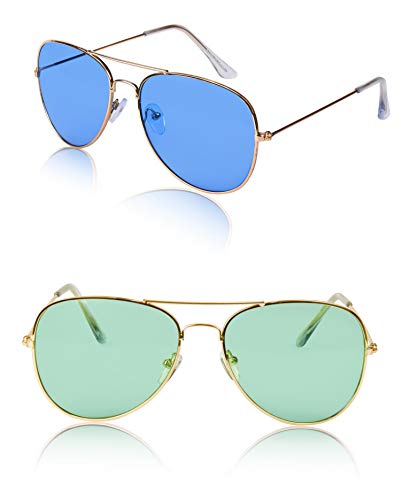 Sunny Pro Aviator Sunglasses Colored Tinted Lens Glasses Metal UV400 Protection (2 pack ()
