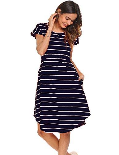 Short Sleeve Beach Dress - Halife Women's Comfy Short Sleeve Scoop Neck Swing Dresses with Pockets Dark Blue,M
