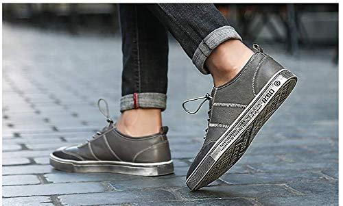 Hombres Hombres con Vestir Ocasionales para UK Gris Zapatos los Color Hombres de para HhGold 7 de 8 con Negro US Cordones Cuero Redonda cómodos tamaño de Cabeza Zapatos C7Pnaqw8